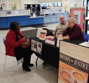 Visiting with a Lady at Book Fair at Lake County Public Library